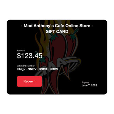 Mad Anthony's Cafe Online Store Gift Card